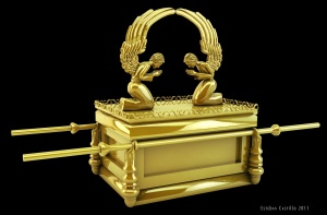 A depiction of the Ark of the Covenant.  Look familiar, fellow Catholics?